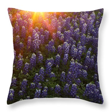 Sunset Over Bluebonnets Throw Pillow