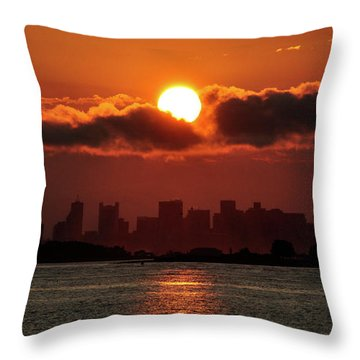 Sunset Over Boston Throw Pillow