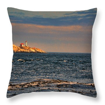 Sunset Over British Columbia Throw Pillow