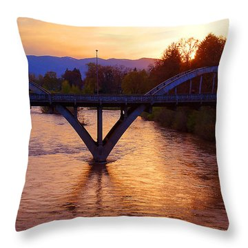 Sunset Over Caveman Bridge Throw Pillow