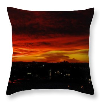 Sunset Over L.a. Throw Pillow by Mike Herdering