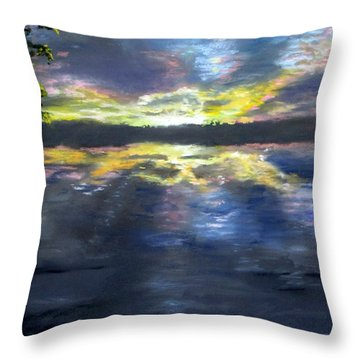 Sunset Over Mystic Lakes Throw Pillow by Jack Skinner