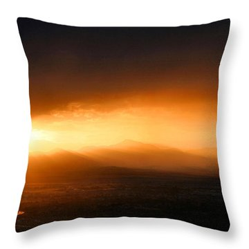 Sunset Over Salt Lake City Throw Pillow by Kristin Elmquist
