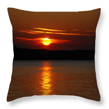Sunset Over Silver Lake Sand Dunes Throw Pillow by Grace Grogan