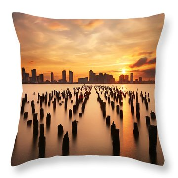 Sunset Over The Hudson River Throw Pillow by Larry Marshall