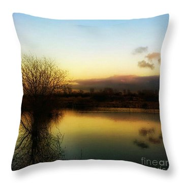 Sunset Over The Lake Throw Pillow by Isabella F Abbie Shores