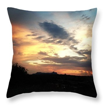 Sunset Over Tucson Mountains Throw Pillow