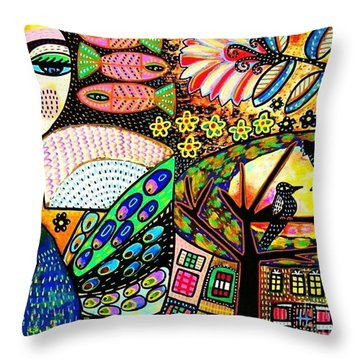 -sunset Peacock Goddess Throw Pillow