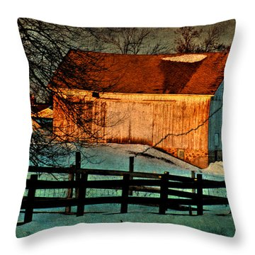 Sunset Reflects - Aged Photo Throw Pillow