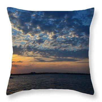 Throw Pillow featuring the photograph Sunset Rockaway Point Pier by Maureen E Ritter