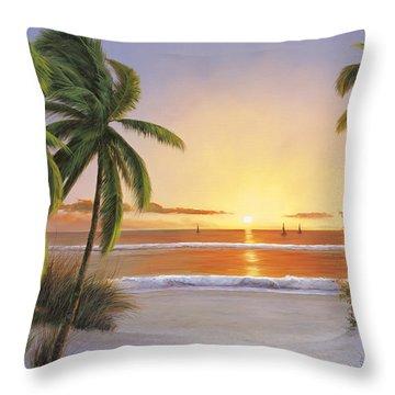 Sunset Sail Throw Pillow by Diane Romanello