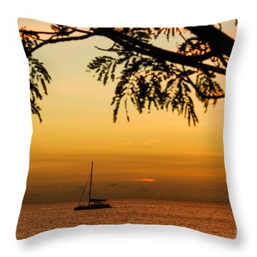 Sunset Sail Throw Pillow by Rene Triay Photography