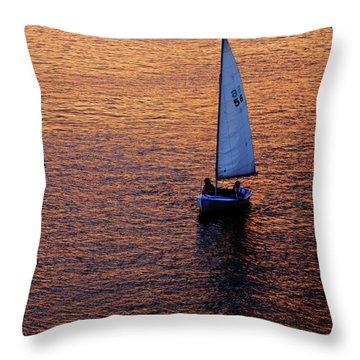 Sunset Sailing Throw Pillow by Rick Berk