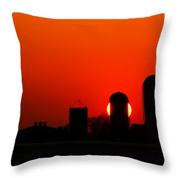 Sunset Silo Throw Pillow by Cale Best