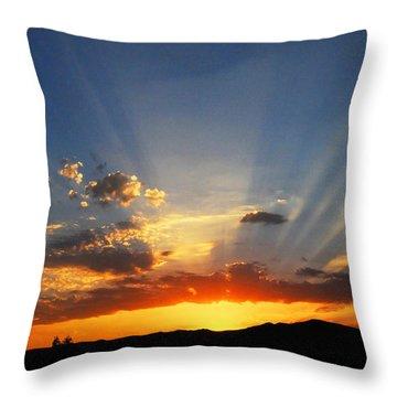 Sunset Sun Rays Throw Pillow by Lynn Bauer