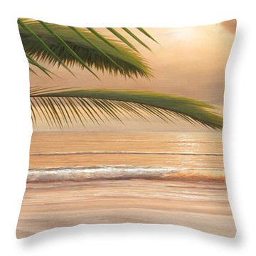 Sunset Surf Panoramic Throw Pillow by Diane Romanello