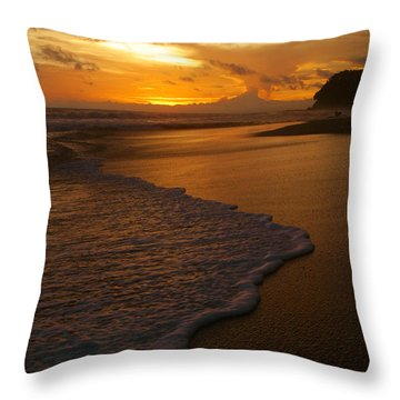 Sunset Surf Playa Hermosa Costa Rica Throw Pillow by Michelle Wiarda
