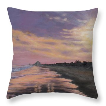 Sunset Surf Reflections Throw Pillow by Kathleen McDermott