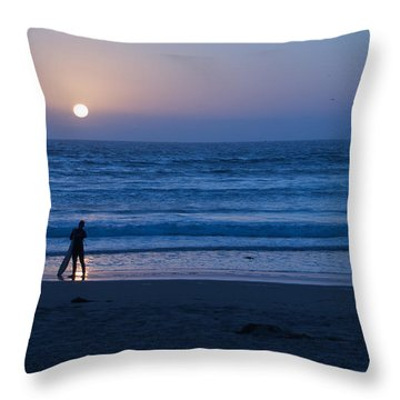Sunset Surfer Throw Pillow by Heidi Smith
