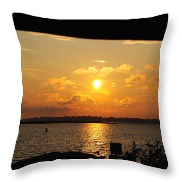 Throw Pillow featuring the photograph Sunset Through The Rails by Michael Frank Jr