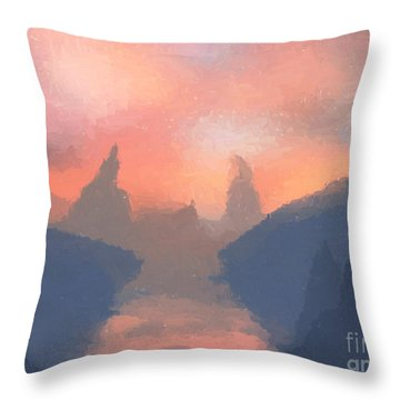 Sunset Valley  Throw Pillow by Pixel  Chimp