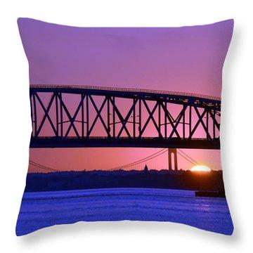 Throw Pillow featuring the photograph Sunset Verrazano Under Marine Park Bridge by Maureen E Ritter