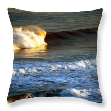 Throw Pillow featuring the photograph Sunset Wave Rockaway Beach Nyc by Maureen E Ritter