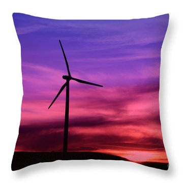 Sunset Windmill Throw Pillow by Alyce Taylor