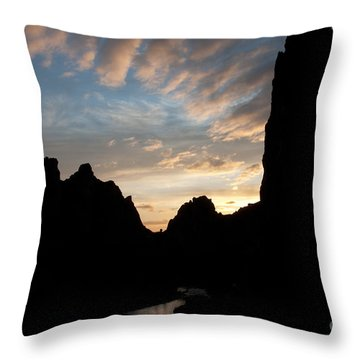 Throw Pillow featuring the photograph Sunset With Rugged Cliffs In Silhouette by Karen Lee Ensley