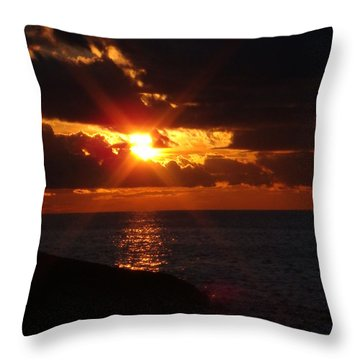 Throw Pillow featuring the photograph Superior Sunset by Bonfire Photography