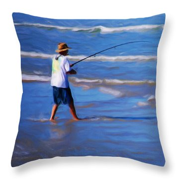 Surf Casting Throw Pillow by David Lane