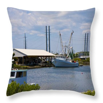 Surf City View Throw Pillow by Betsy Knapp