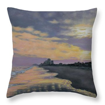 Throw Pillow featuring the painting Surf Sunset Reflections by Kathleen McDermott