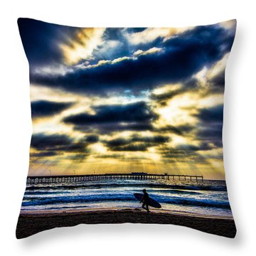Surfer At Pacific Beach Throw Pillow by Chris Lord