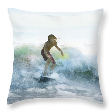 Surfer On A Morning Wave Throw Pillow by Francesa Miller