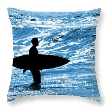 Surfer Silhouette Throw Pillow by Carlos Caetano