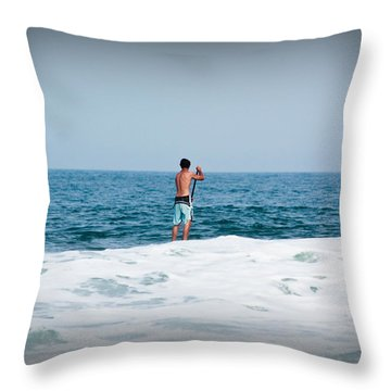 Surfer Waiting For Next Wave Throw Pillow by Ann Murphy