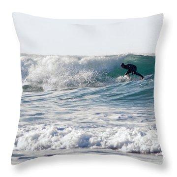 Surfers At Porthtowan Cornwall Throw Pillow by Brian Roscorla