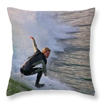 Surfin' The Wave Throw Pillow by Mariola Bitner