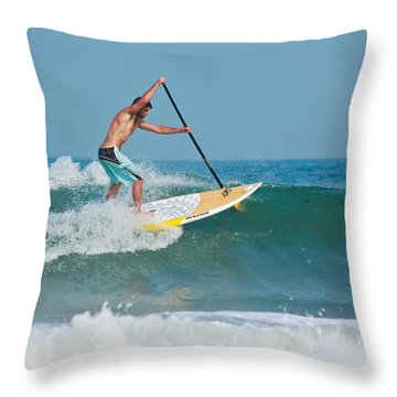 Surfing And Paddling Throw Pillow by Ann Murphy