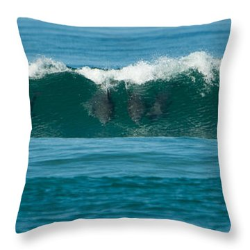 Surfing Dolphins 2 Throw Pillow