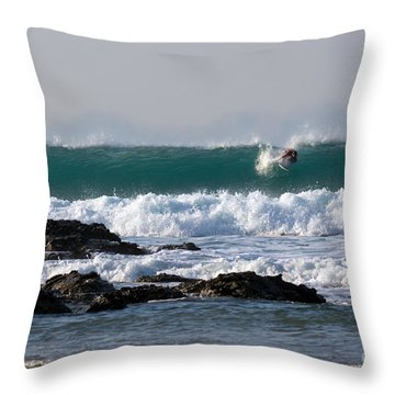Surfing In Cornwall Throw Pillow by Brian Roscorla