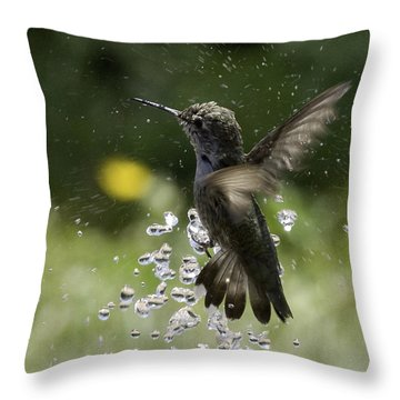 Surfing The Drops Of Water Throw Pillow by Betty Depee