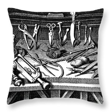 Surgical Equipment, 16th Century Throw Pillow by Science Source
