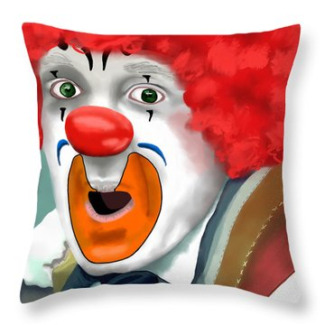 Surprised Clown Throw Pillow by Methune Hively
