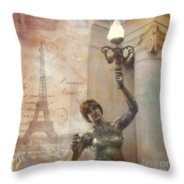 Paris Eiffel Tower Surreal Art Deco With Female Statue Street Lantern Montage  Throw Pillow