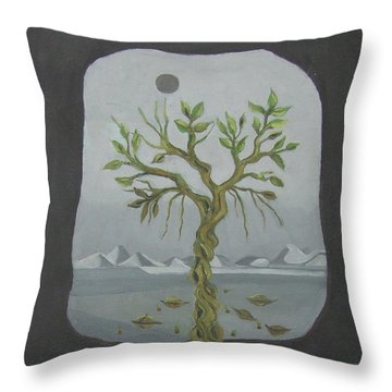 Surreal Landscape Framed  With Tree Falling Leaves Moon Mountain Sky   Throw Pillow by Rachel Hershkovitz