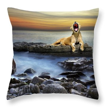 Surreal Lioness Throw Pillow by Carlos Caetano