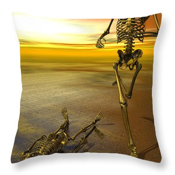 Surreal Skeleton Jogging Past Prone Skeleton With Sunset Throw Pillow by Nicholas Burningham