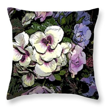 Surrounding Pansies Throw Pillow by Pamela Hyde Wilson